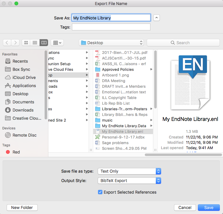 Export screen in EndNote
