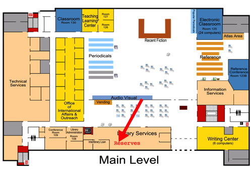 Main Level of Briggs floor plan with reserves location indicated