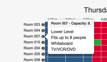 Room booking system showing information about a particular room