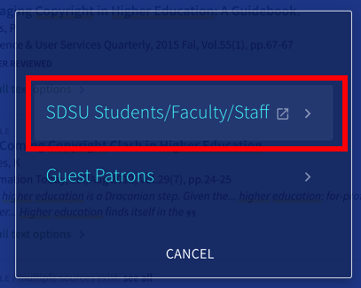 Students/Faculty/Staff link for logging in