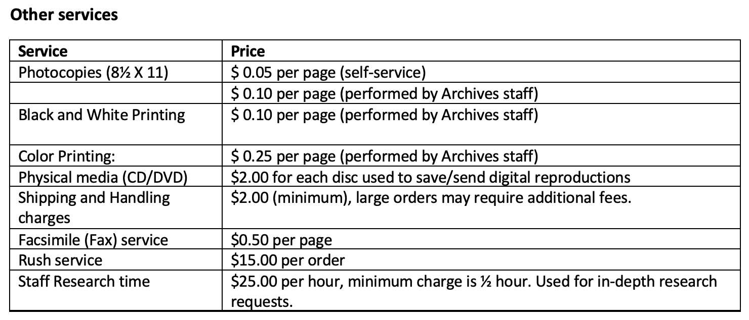 Table of archives other services from Library Charges Policy. Information in accessible form available below.
