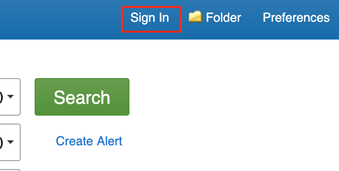 screenshot of top right of ebooks at Ebsco page. Text on image: Sign In, Folder, Preferences, Search, Create Alert.