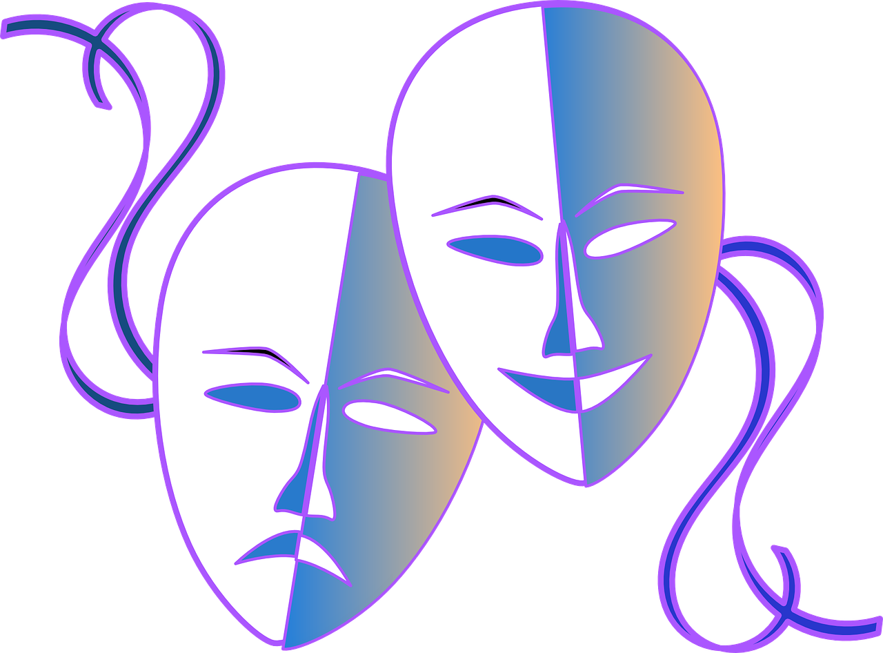 Image of comedy and tragedy masks by Clker-Free-Vector-Images from Pixabay
