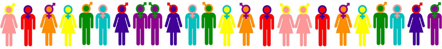 image of generic figures with gender symbols illustrating different sexuality and gender combinations