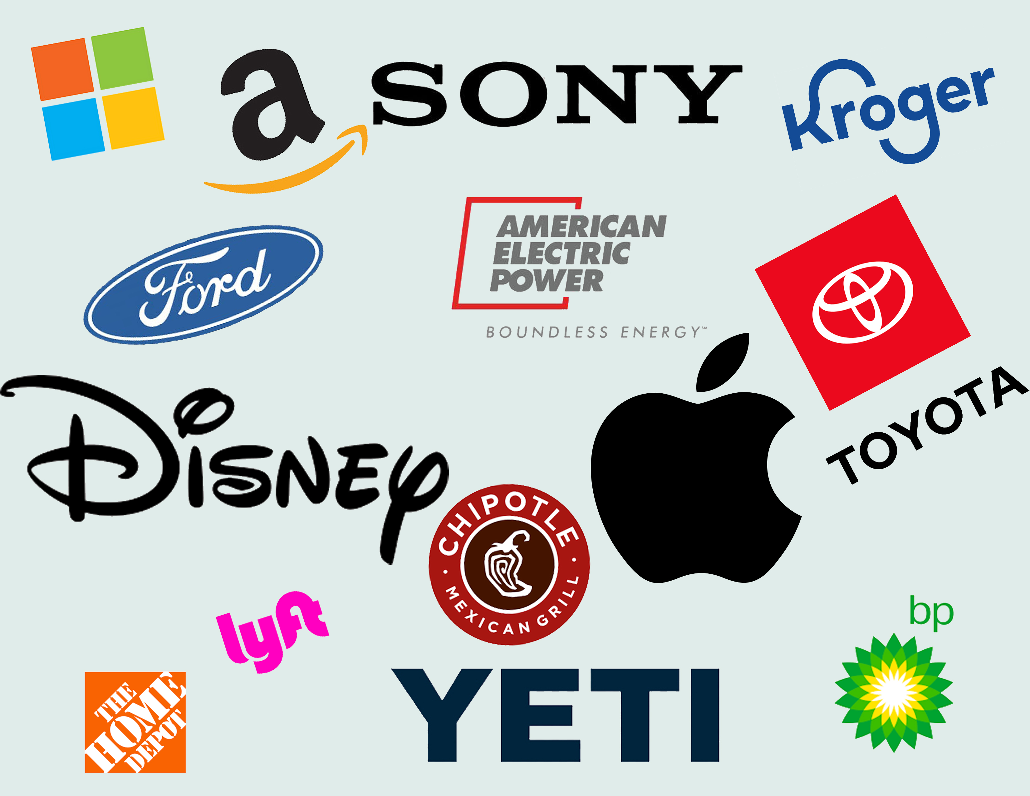 Company logos of major companies and brands in an image