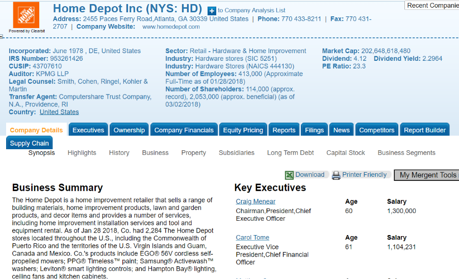 A screenshot of a company profile in Mergent Online.