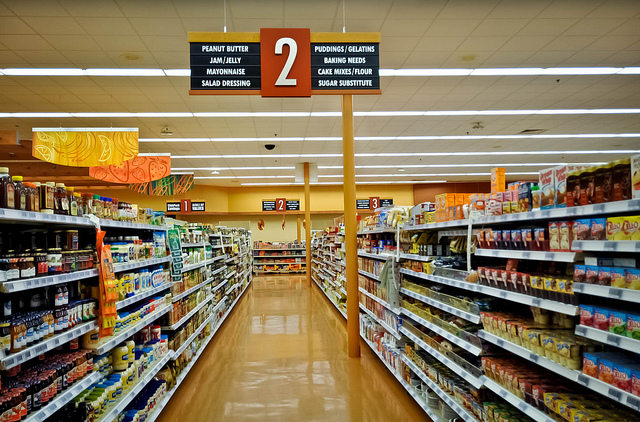 An aisle in a grocery store