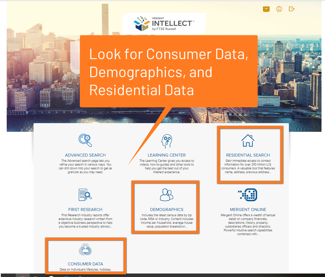 Use Mergent Intellect to find Consumer Data, Demographics, and more