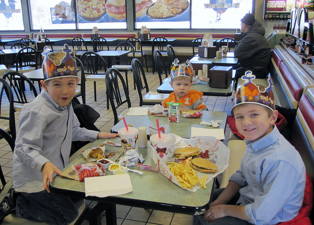My sons at Burger King
