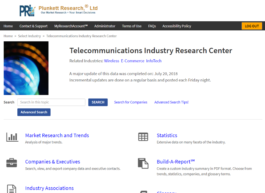 Click to connect to Plunkett Research Online
