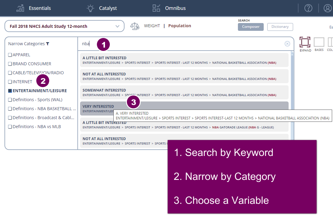 Search by keyword, then limit by category