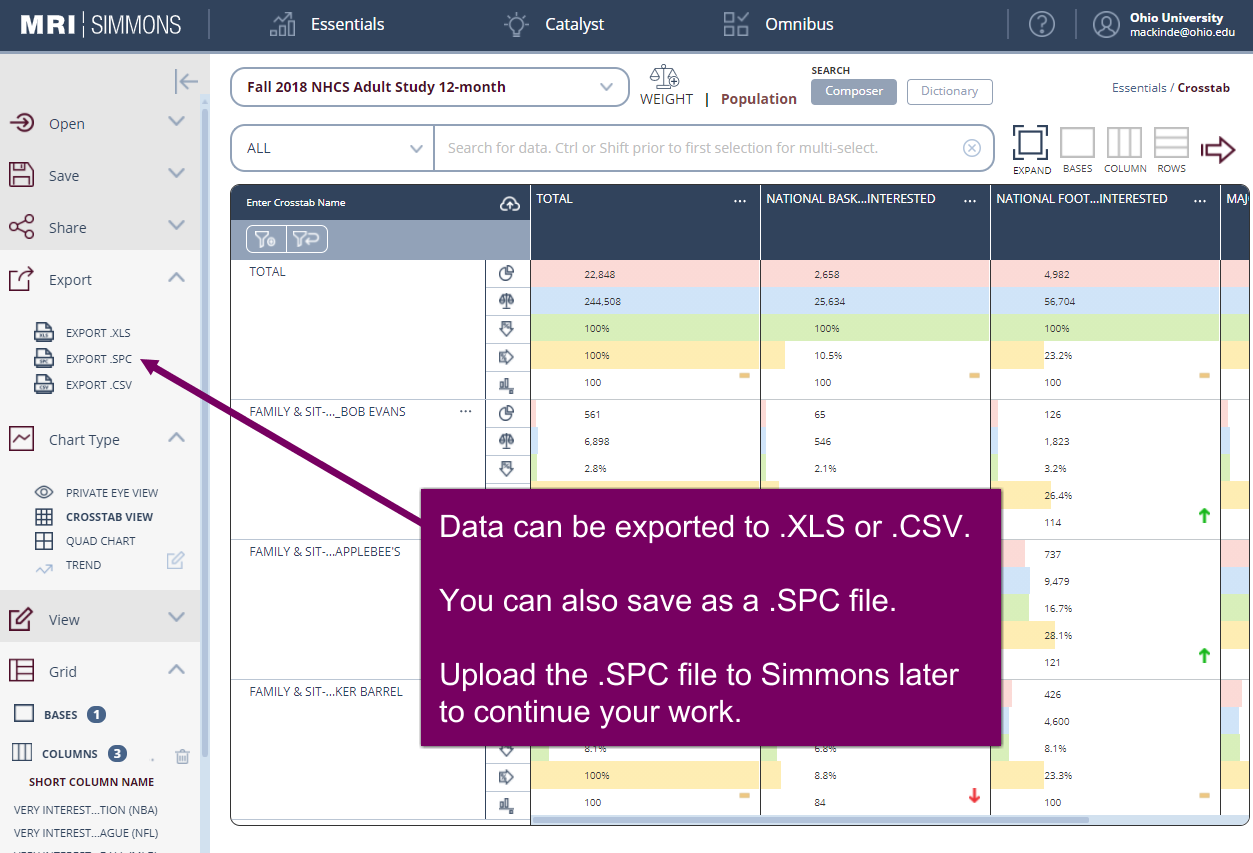 Data can be exported as .CSV or .XLS for further analysis in Excel
