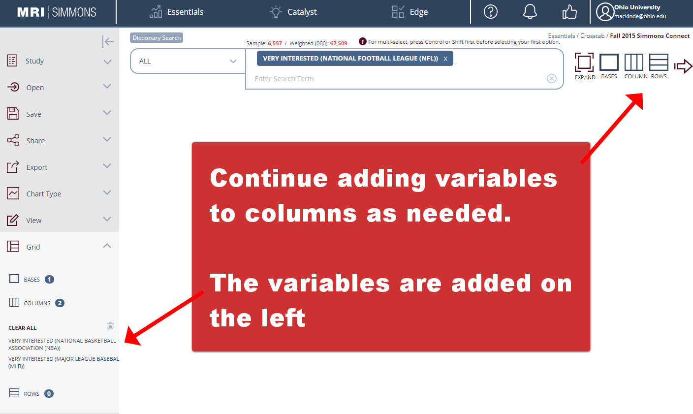 Continue adding variables to columns in Simmons as needed.