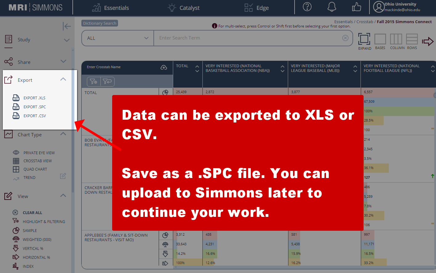 Click to export data in Simmons Insights