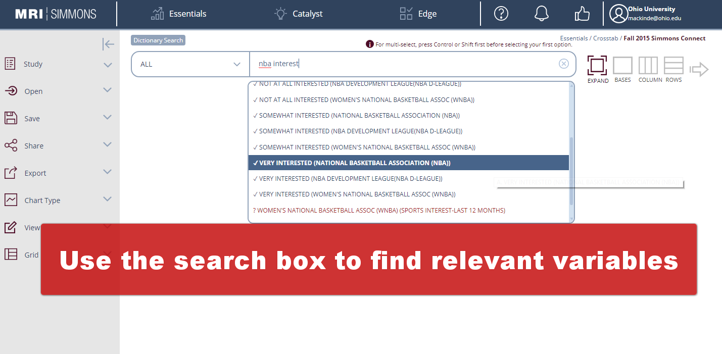 enter search terms in the Simmons Search box