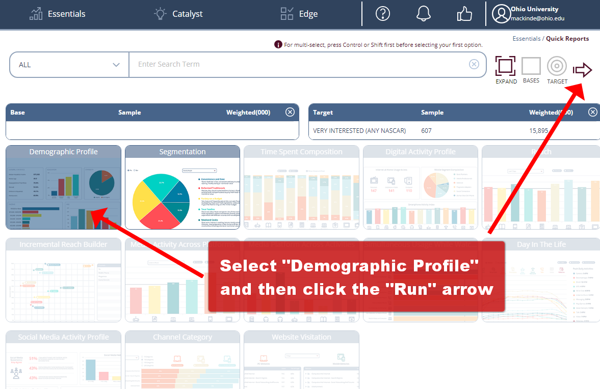 "Click to select ""Demographic Profile.""  Then click the arrow to ""Run"" the analysis."