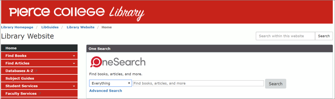 One Search search box on Pierce Library's homepage