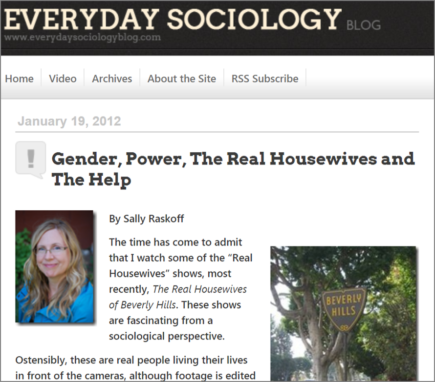 "Website ""Everyday Sociology"" story about The Real Housewives"