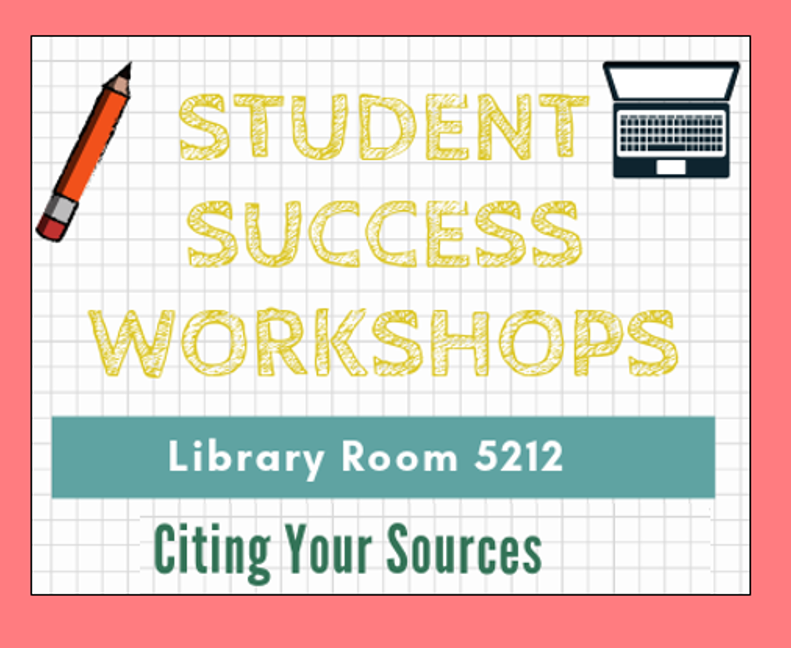 "Drawing of a pencil and computer with the words ""Student Success Workshops: Citing Your Sources"""