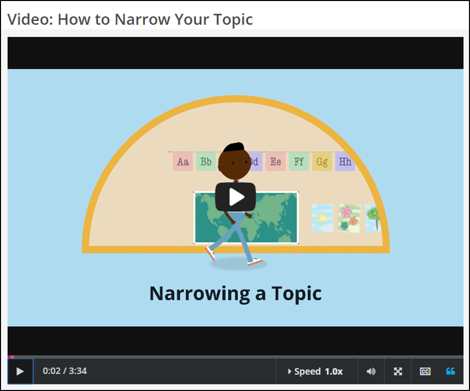 "Picture of Credo tutorial screen on ""How to Narrow Your Topic"""
