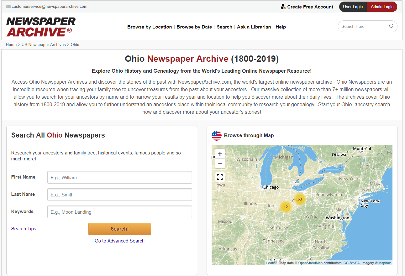 a screenshot of the Ohio newspapers page in Access Newspaper Archive