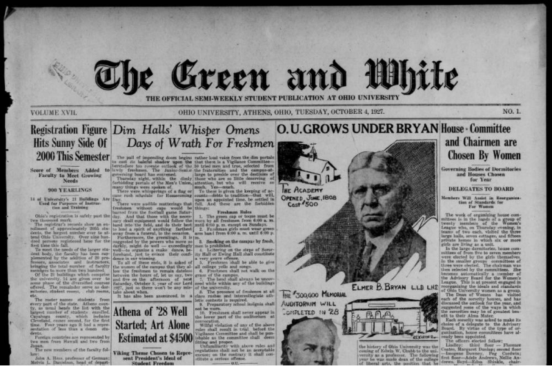 The Green and White for Otober 4, 1927