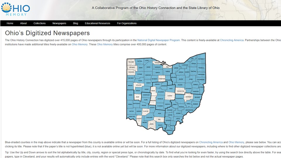 a screenshot of the Ohio Memory Newspaper page