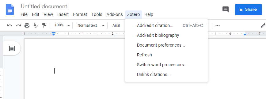 Screenshot of the Google Drive Zotero menu. Menu items include: Add/edit citation, Add/edit bibliography/Document preferences..., Refresh, Switch Word processors, Unlink citaitons.