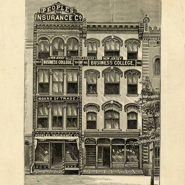 New Jersey Business College, Newark, 1884 (bookplate)