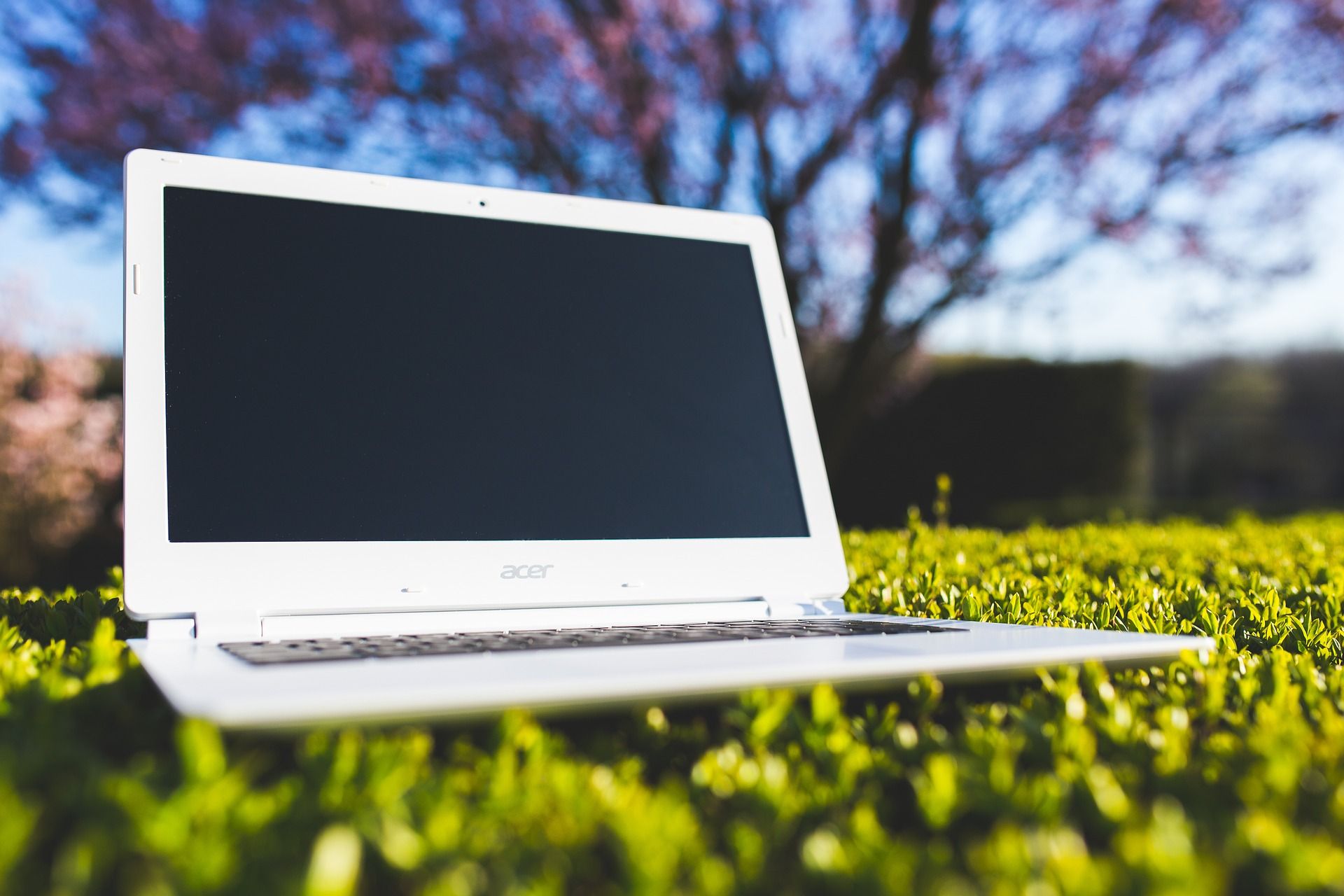 A laptop sits on top of green grass.