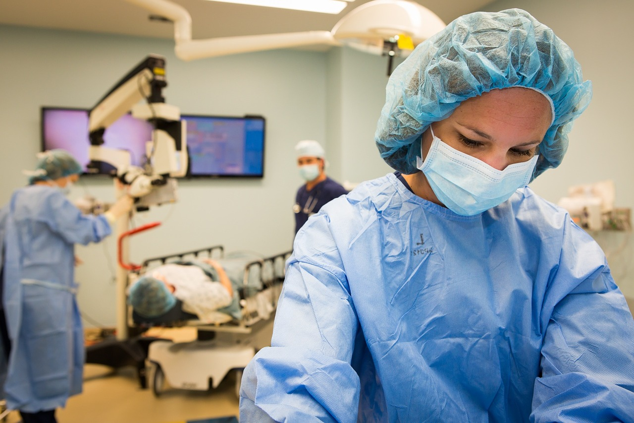 Medical professions in an operating room.
