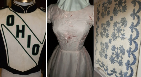 Three clothing items from the historic Doxsee collection at Ohio: a green and white band uniform, a pink 50's prom dress, and a blue and white quilt.