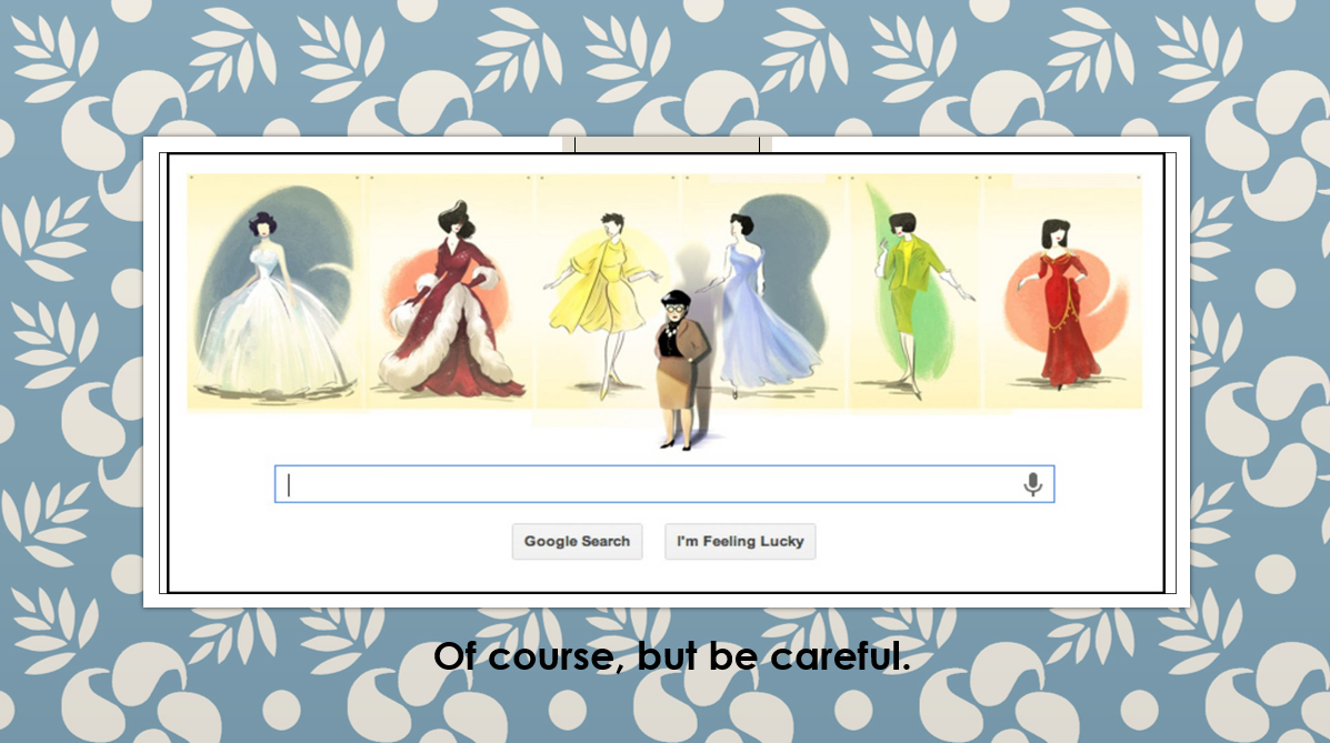 Google search screen: Edith Head with 6 of her designs as the letters GOOGLE