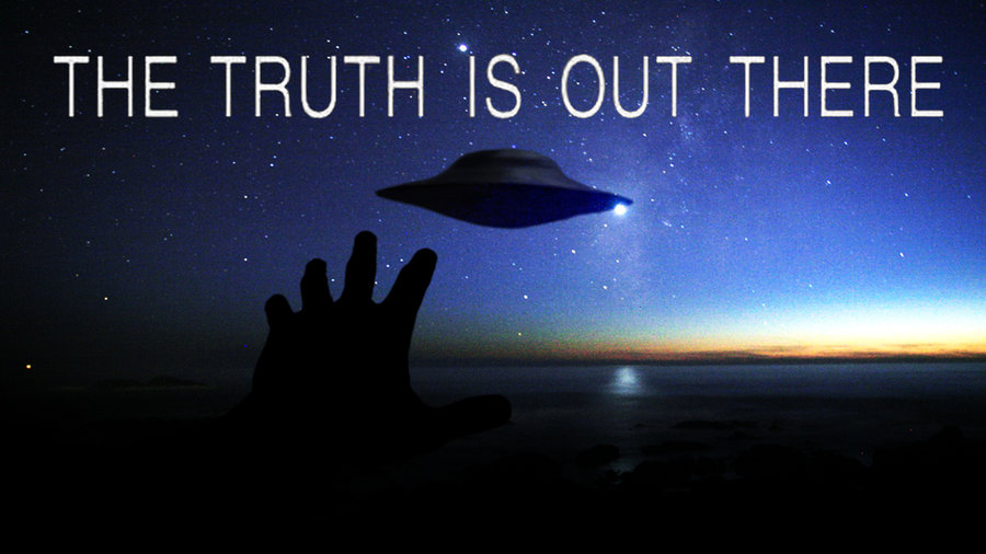 Poster from the x-files: The Truth is Out There showing a flying saucer in the night sky