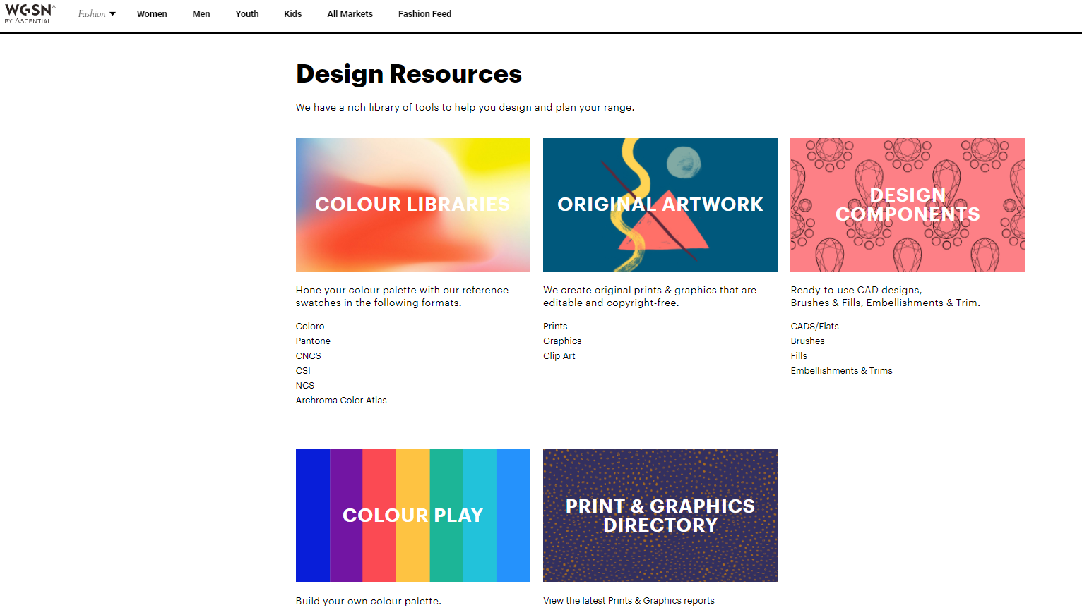 page from WGSN design library menu showing colour library, artwork, design components, and graphics directory