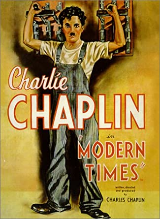 painting of charlie chaplin, modern times, he is in overalls and holding onto two levers