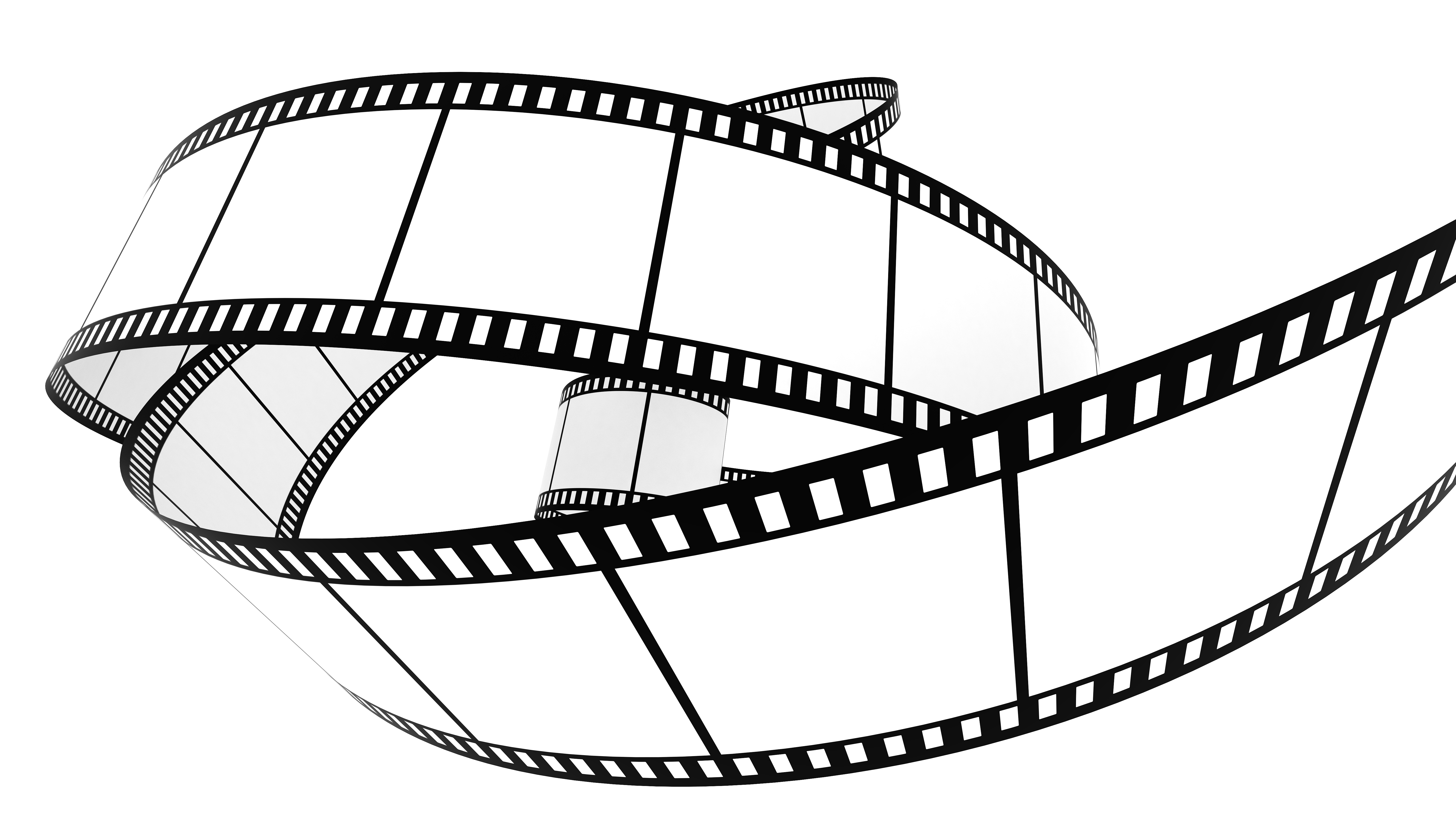 image of a white and black film strip in a circular shape