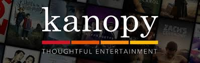 logo for Kanopy streaming films:  quote: thoughtful entertainment