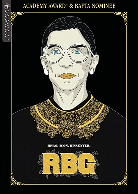 caricature of Ruth Bader Ginsberg, black background