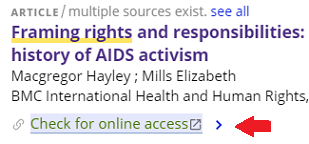screenshot of check for online access; a red arrow points to the link to do so