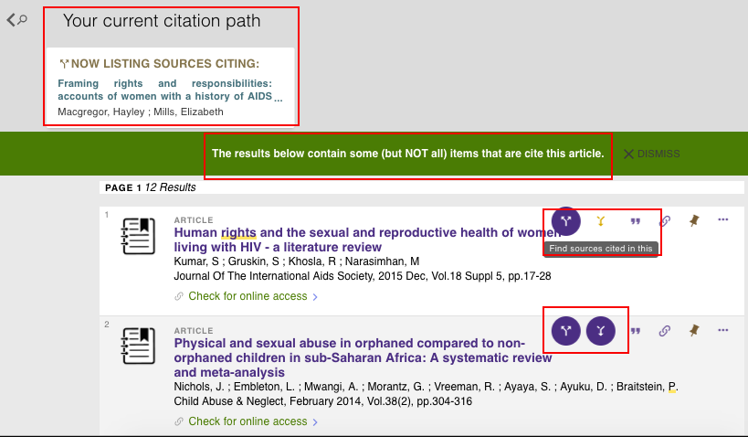 screenshot of citation trail