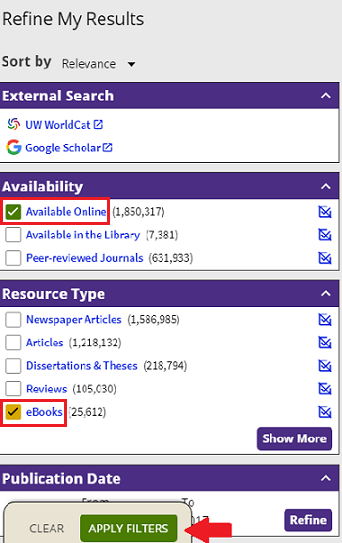 screenshot of e-book filtering