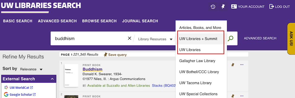 screenshot of UW Libraries Search