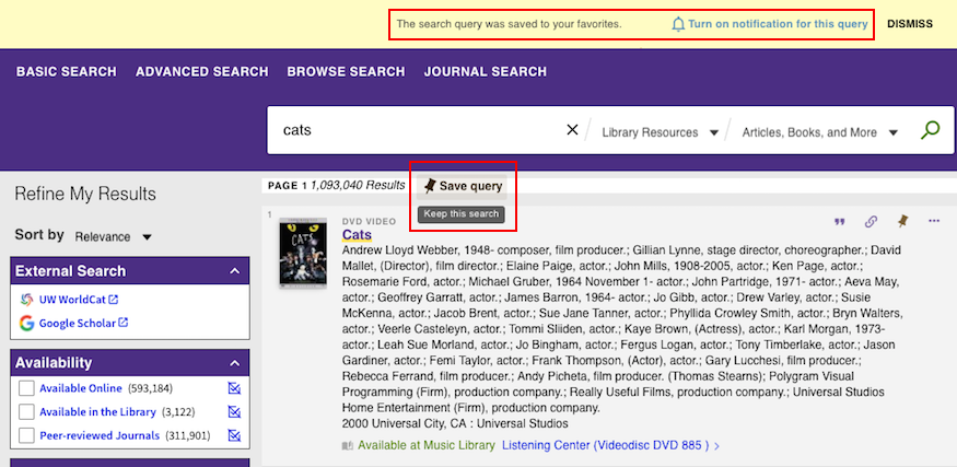 screenshot of popup save query notice