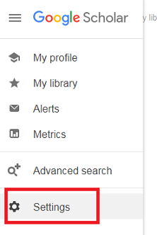 "screenshot of settings button google scholar. a red box marks the ""settings"" option"