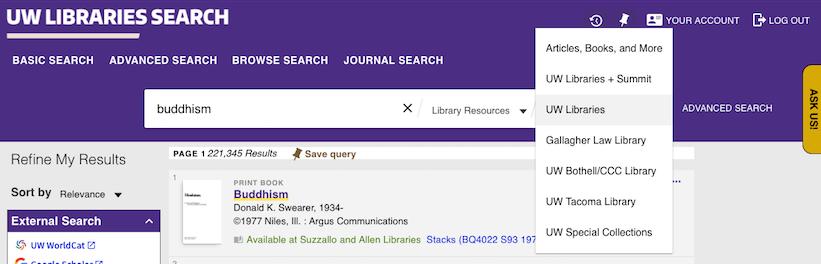 screenshot of uw lib selection