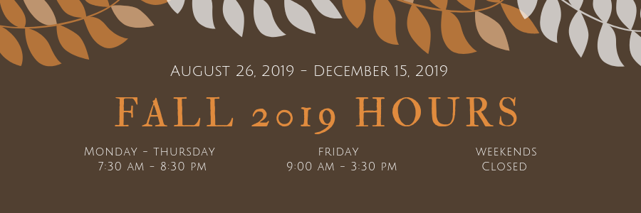image showing library's Fall 2019 hours