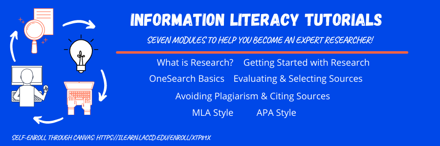 image advertising information literacy tutorials. Same information is given on page that this banner links to.