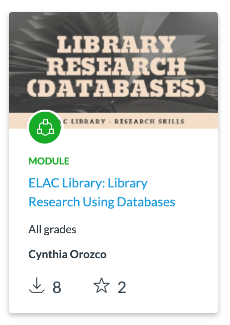 Screenshot of Library Research Using Databases Canvas Module thumbnail