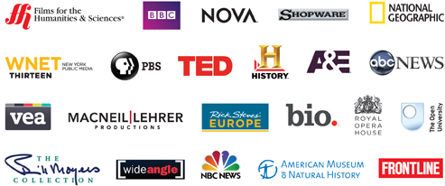 Logos of different video producers such as PBS and BBC.
